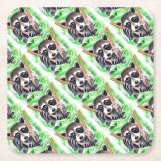Cute Raccoon Watercolor Art Square Paper Coaster