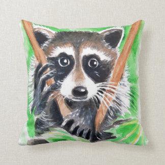 Cute Raccoon Watercolor Art Throw Pillow