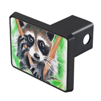 Cute Raccoon Watercolor Art Trailer Hitch Cover