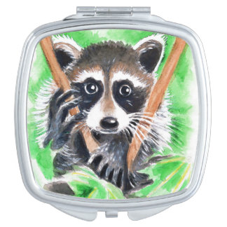 Cute Raccoon Watercolor Art Travel Mirrors