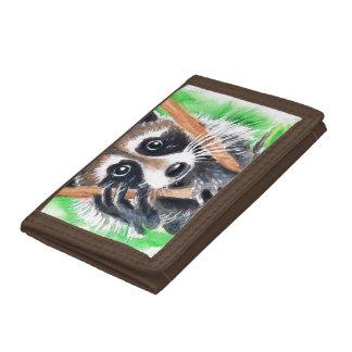 Cute Raccoon Watercolor Art Trifold Wallet