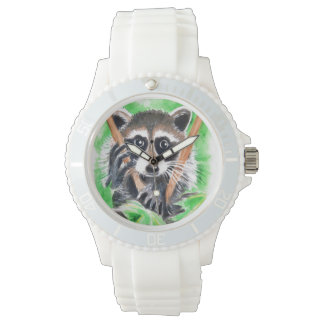 Cute Raccoon Watercolor Art Watch