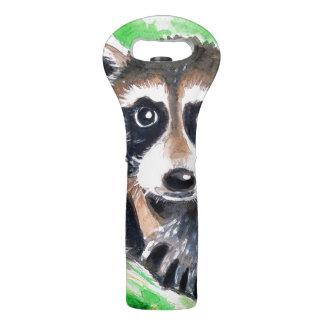 Cute Raccoon Watercolor Art Wine Bag