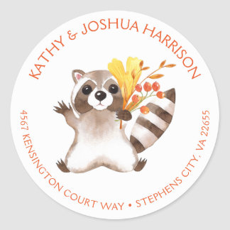 Cute Raccoon with Fall Leaves Round Address | Classic Round Sticker