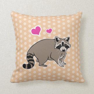 Cute Raccoon With Hearts On Peach Polka Dots Throw Pillow