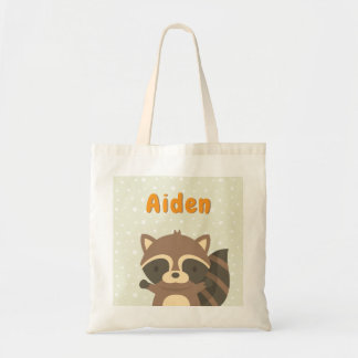 Cute Raccoon Woodland Kids Personalized Tote