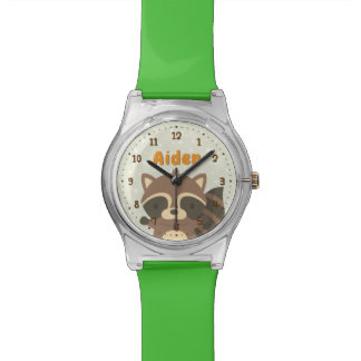 Cute Raccoon Woodland Kids Personalized Watch