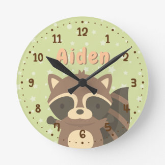 Cute Raccoon Woodland Kids Room Decor Clock