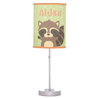Cute Raccoon Woodland Kids Room Table Lamp