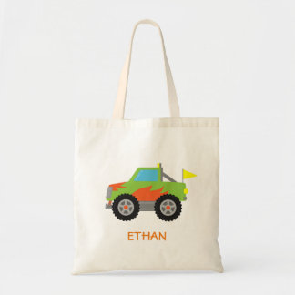 Cute Racing Green Monster Truck for Boys Tote Bag