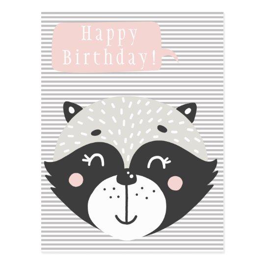 Cute Racoon Kids Birthday Postcard