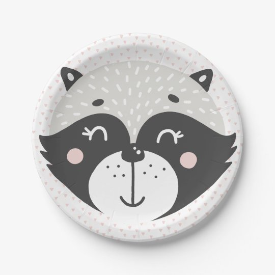 Cute Racoon | Paper Plates 7 Inch Paper Plate