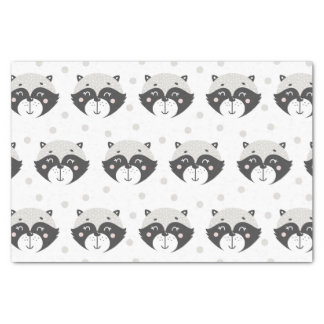 Cute Racoon Pattern 10lb Tissue Paper, White Tissue Paper
