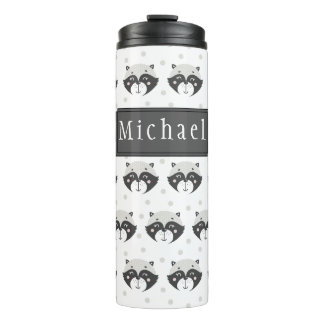 Cute Racoon Pattern Personalized Thermal Tumbler