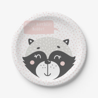 Cute Racoon | Personalized Birthday Paper Plates