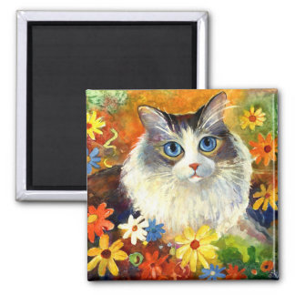 Cute Ragdoll Cat with flowers Magnet