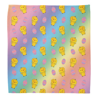 Cute rainbow baby chick easter pattern bandanna