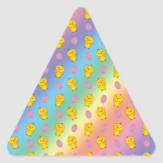 Cute rainbow baby chick easter pattern sticker