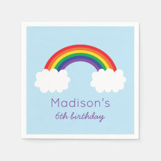 Cute Rainbow Birthday Disposable Napkins