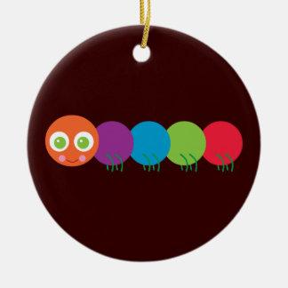 Cute Rainbow Caterpillar Round Ceramic Ornament