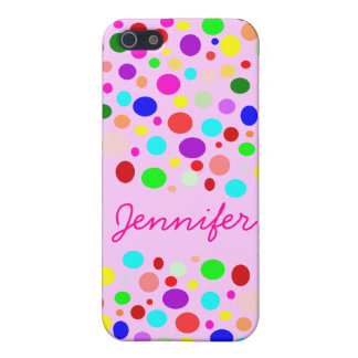 Cute Rainbow Color Polka Dots Custom Name Cover For iPhone 5/5S