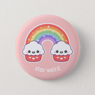 Cute Rainbow Cupcakes 2 Inch Round Button