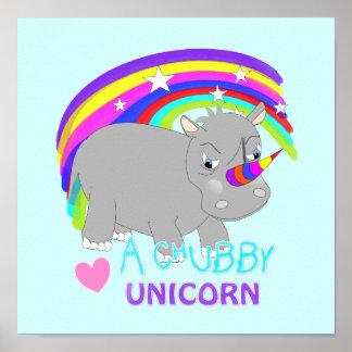 Cute Rainbow Fantasy Chubby Unicorn Fun Novelty Poster