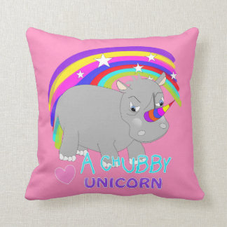 Cute Rainbow Fantasy Chubby Unicorn Fun Novelty Throw Pillow