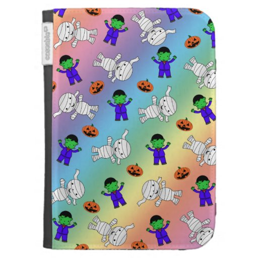 Cute rainbow Frankenstein mummy pumpkins Kindle 3 Case