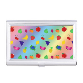 Cute rainbow fruits pattern business card holder