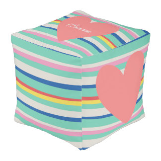 Cute Rainbow Girly Heart Pouf