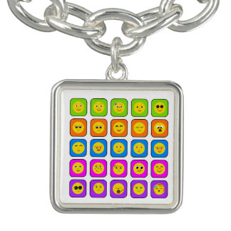 Cute Rainbow Happy Smiley Face Emoticons Pattern Bracelets