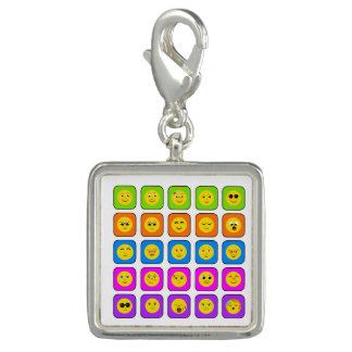Cute Rainbow Happy Smiley Face Emoticons Pattern Charm
