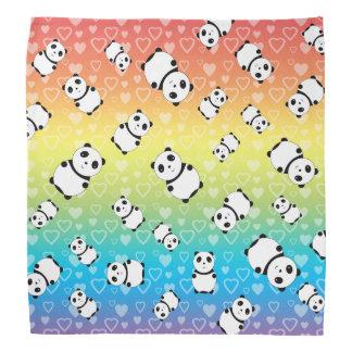 Cute rainbow hearts panda pattern bandanna
