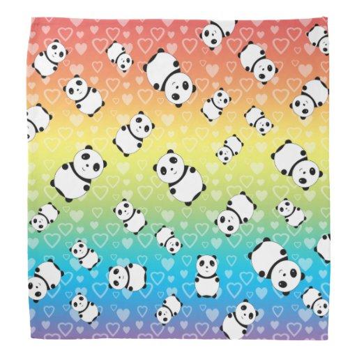 Cute rainbow hearts panda pattern kerchief