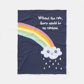 Cute Rainbow Inspirational and Motivational Quote Fleece Blanket