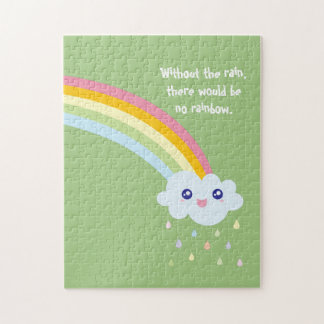 Cute Rainbow Inspirational and Motivational Quote Jigsaw Puzzle