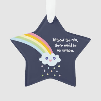 Cute Rainbow Inspirational and Motivational Quote Ornament