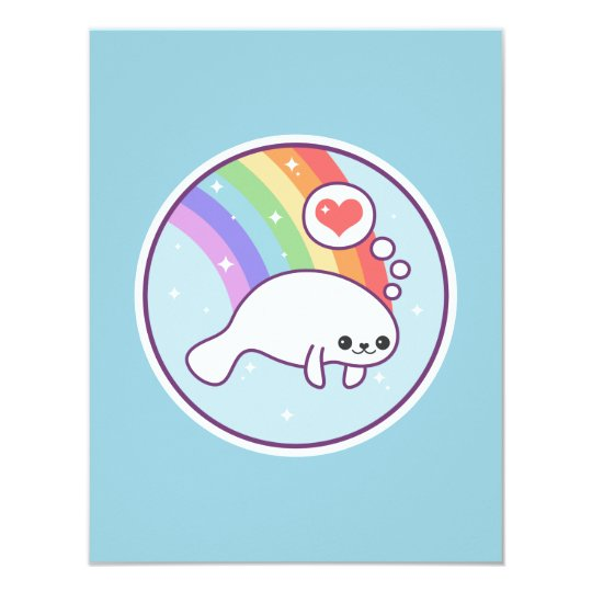 Cute Rainbow Manatee Birthday Invitations