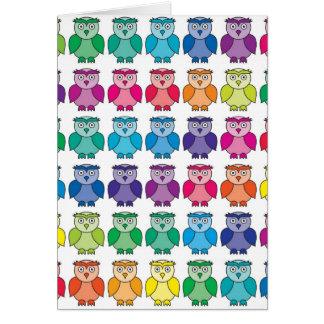 Cute Rainbow Owl Pattern Greeting Card