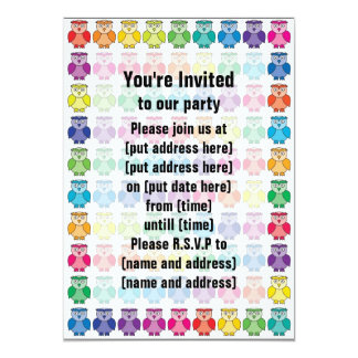 Cute Rainbow Owl Pattern 5x7 Paper Invitation Card
