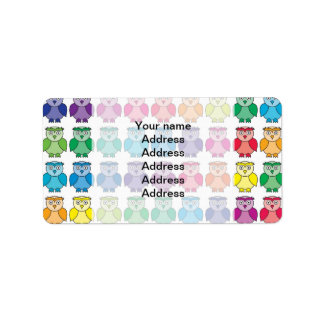 Cute Rainbow Owl Pattern Custom Address Label