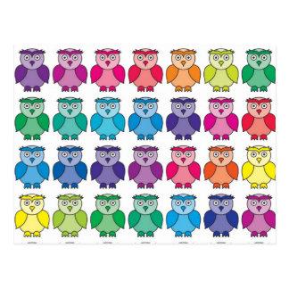 Cute Rainbow Owl Pattern Postcard