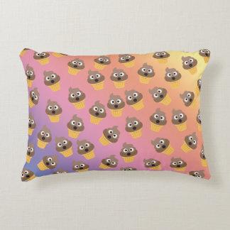 Cute Rainbow Poop Emoji Ice Cream Cone Pattern Accent Pillow