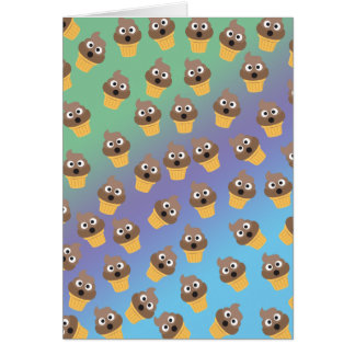 Cute Rainbow Poop Emoji Ice Cream Cone Pattern Card