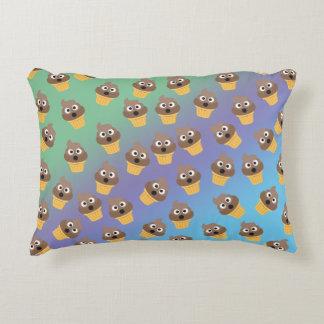 Cute Rainbow Poop Emoji Ice Cream Cone Pattern Decorative Pillow