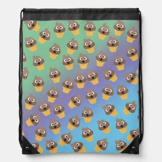 Cute Rainbow Poop Emoji Ice Cream Cone Pattern Drawstring Bag