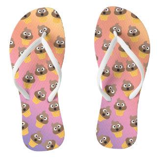 Cute Rainbow Poop Emoji Ice Cream Cone Pattern Flip Flops
