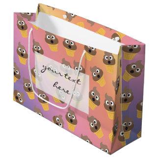 Cute Rainbow Poop Emoji Ice Cream Cone Pattern Large Gift Bag