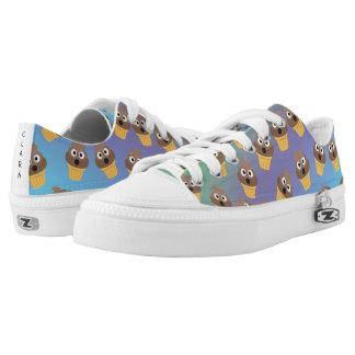 Cute Rainbow Poop Emoji Ice Cream Cone Pattern Low-Top Sneakers